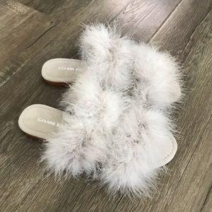 fluffy furry slides slip on sandals slippers 6